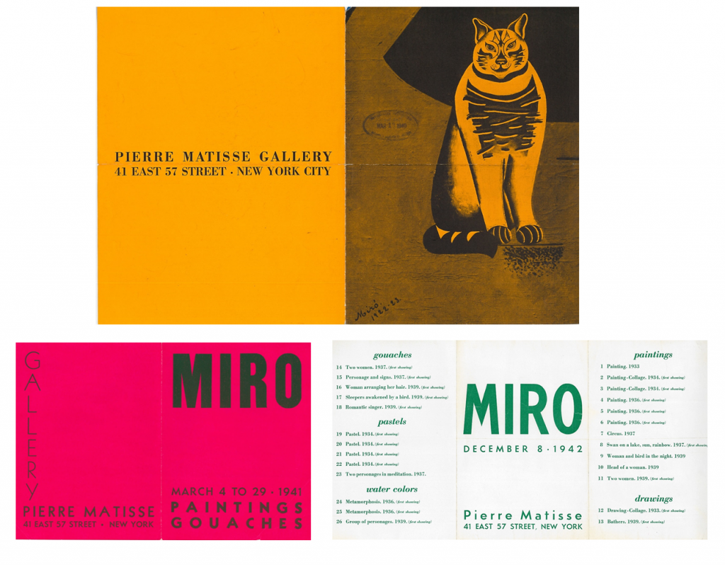 Catalogues and artwork checklists from the 1940, 1941, 1942 exhibitions of Miro's work at Pierre Matisse Gallery-- AAPG