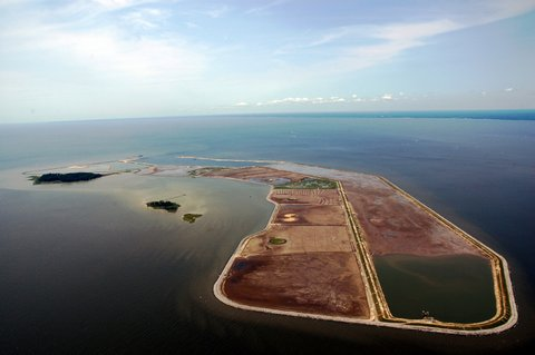 Aerial view of Poplar Island in the mid-Cheasapeake Bay. Poplar Island is being restored by the US Army Corps of Engineers.