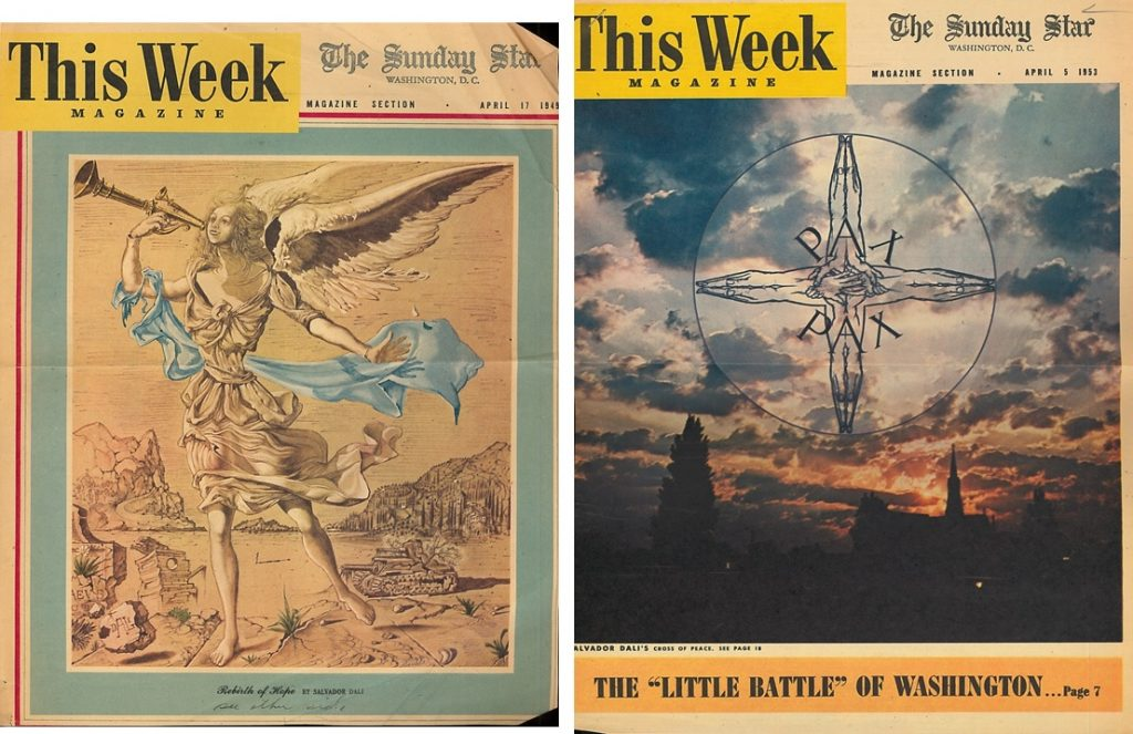 Dali covers with original artwork, Rebirth of Hope (left) & Cross of Peace (right), for the Sunday Star, 1945 & 1953--AAPG