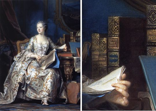 The renown that the work reached, even as it was being printed, is seen in Quentin de la Tour's portrait of Madame de Pompadour, which places the royal mistress with a volume of the Encyclopédie. (The above is a 1755 pastel portrait on paper now in the Musée du Louvre, Paris)
