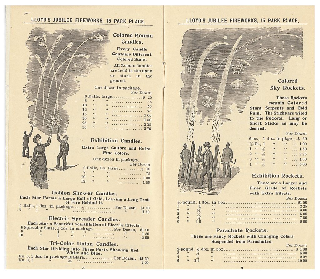 Thomas Lloyd, New York, NY. Lloyd's Jubilee Fireworks, 1906, pgs. 2-3, Fireworks