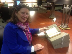 """Linda Blancato """"visits"""" """"An Essay on Crimes and Punishments"""" in the Joseph F. Cullman Library of Natural History."""
