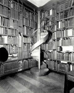 Photo of the Sarah Cooper Hewitt Memorial Library in the Cooper Union Museum, installed in 1932. This library housed the Decloux Collection, the  Eleanor Hewitt Textile Reference Library, and Sarah's private collection of rare art books. Photo courtesy of the Cooper Hewitt, Smithsonian Design Museum.