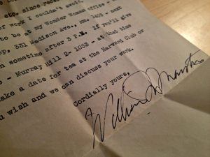 Marston's letter inviting Joy to interview for a Wonder Woman writing position.
