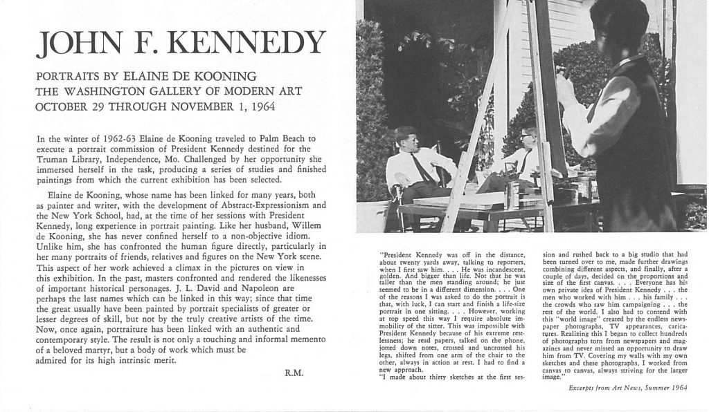 Announcement for an exhibition of portraits of JFK, 1964--AAPG