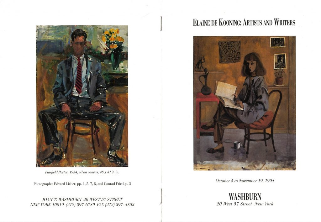 Announcement for Elaine de Kooning's exhibition of portraits at Washburn Gallery, 1994-- AAPG