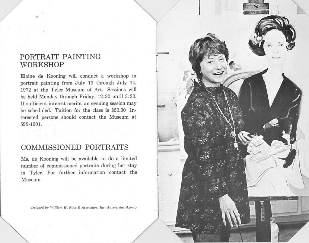 Inside of catalogue of Elaine de Kooning's paintings, 1972--AAPG