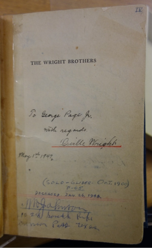 Orville Wright's Signature in Kelly's Biography