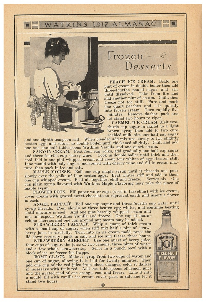 lady cooking in a kitchen and bottle of Watkins Mixed Fruit Flavor