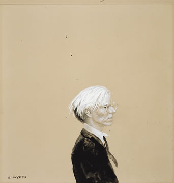 Jamie Wyeth (born 1946) Andy Warhol Gouache, watercolor, and graphite on illustration board, 1976 National Portrait Gallery, Smithsonian Institution gift of Coe Kerr Gallery © Jamie Wyeth