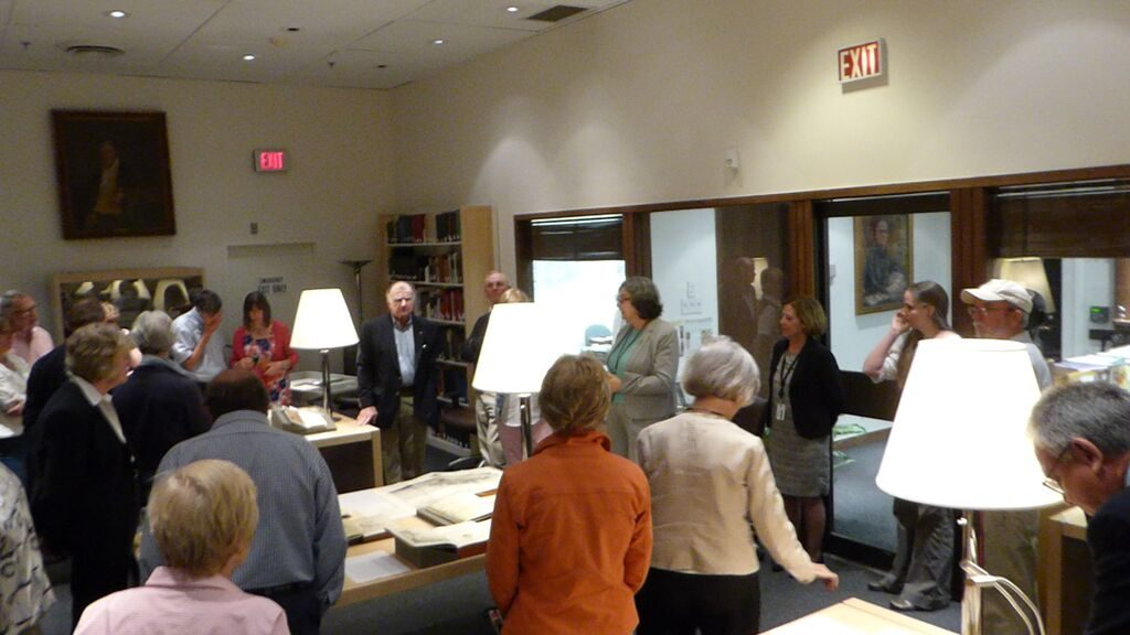 Head of Special Collections Lilla Vekerdy introducing the sailors to the Dibner Library.