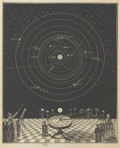 Illustration of astronomy being taught in classroom during the 19th century