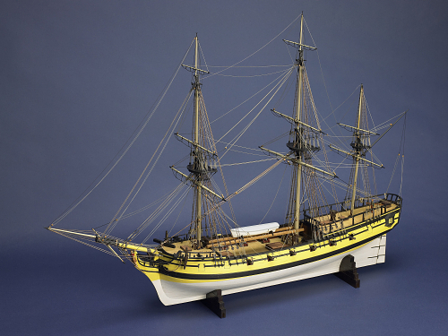 "Ship model of ""Rhodes of Salem"" (National Museum of American History). The privateer Rhodes sailed out of Salem, Massachusetts with a crew of ninety. She was captured by the British in February 1782 and taken to England where she was rechristened H.M.S. Barbadoes."