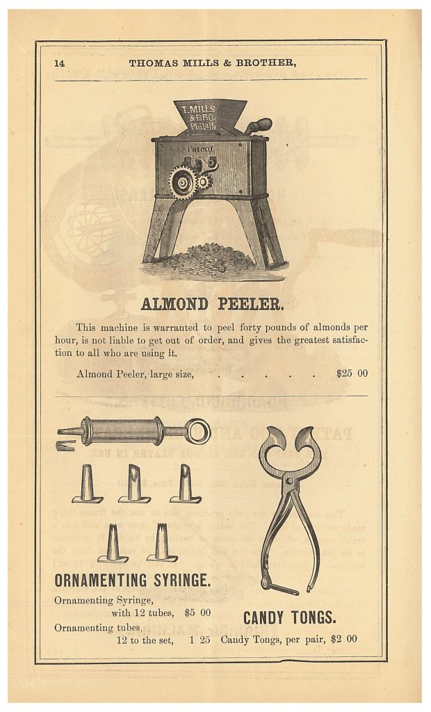 Thomas Mills & Brother Almond Peeler, Ornamenting Syringe, and Candy Tongs