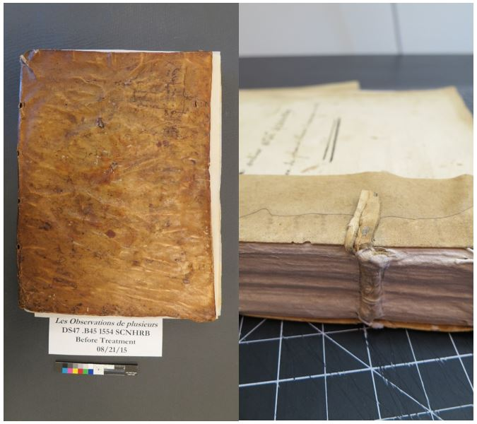 Left: front cover of Les observations. Right:example of a sewing slip which would have been used to attach the book to its cover