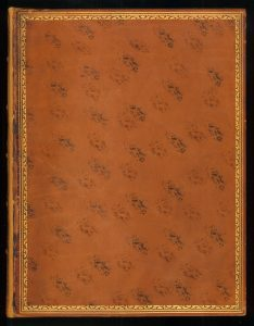 A lovely light-colored polished calf binding with the cat's paw motif in different colors applied lightly over the boards. This early 19th-century French book on astronomy once belonged to Sir John F. W. Herschel, astronomer, chemist, mathematician (among other things)
