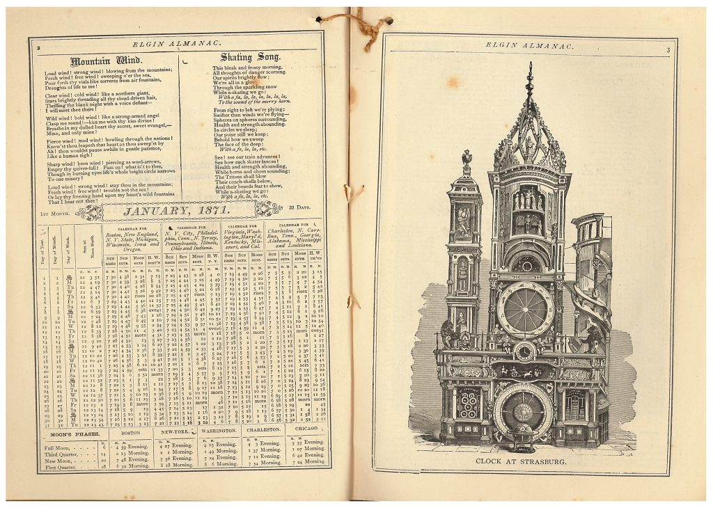 January 1871 calendar and Clock at Strasburg