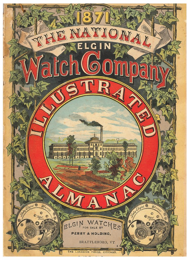 image of building on front cover of National Elgin Watch Company Illustrated Almanac
