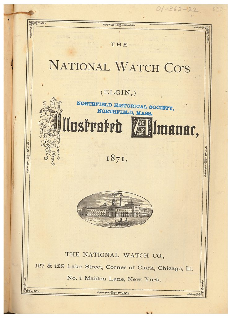 title page of National Elgin Watch Company Illustrated Almanac showing image of building