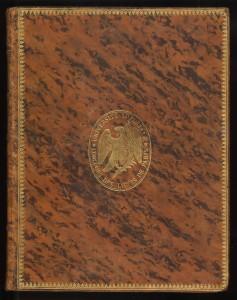 Another type of tree calf binding with an ownership's crest of the Université impériale in Paris stamped on its front cover. Comte Antoine-Françoise de Fourcroy, Système des connaissances chimiques (Paris, 1800 or 1801)