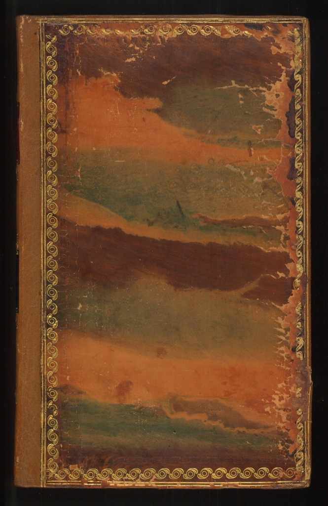 This example has different colors softly blending into each other for an elegant effect on the polished calf, also called run marbling. The design resembles a sunset somewhat, appropriately enough on a book on geography (William Guthrie, A new geographical, historical, and commercial grammar (Philadelphia, 1815)