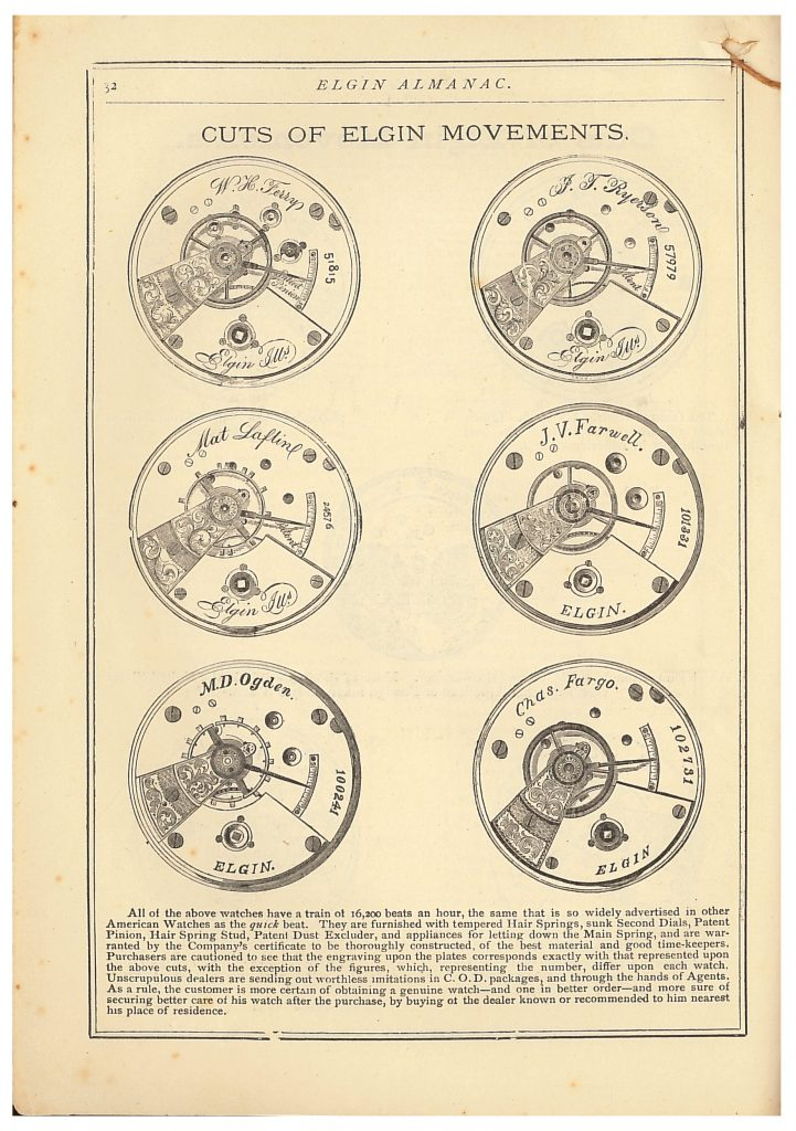Cuts of Elgin watch movements