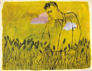 Yellow field. November twenty-six, nineteen hundred sixty-three by Wendell Berry, illustrated by Ben Shahn.