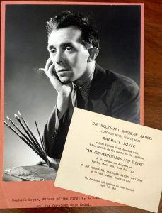 Photograph and invitation from the Raphael Soyer ephemera file