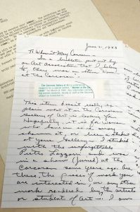 """Artist letter regarding a planned """"Women at the Corcoran"""" exhibition"""