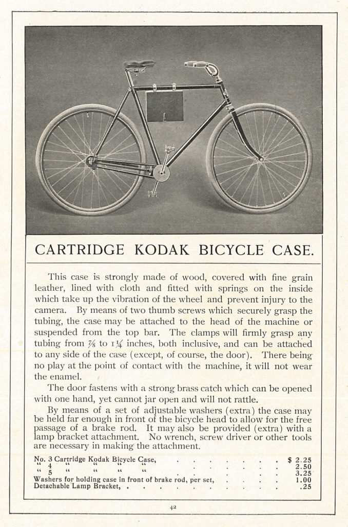 Eastman Kodak Company, Rochester, N.Y. The Witchery of Kodakery, 1900, Pg. 40-41, Style A Bicycle Cases.
