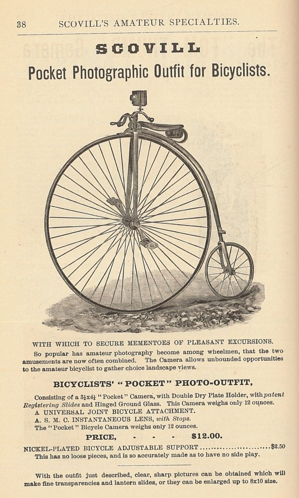 The Scovill and Adams Company, New York, NY. How to Make Photographs And Descriptive Price List, 1891, Pg. 38, Pocket Photographic Outfit for Bicyclists.