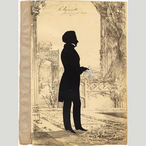 Lithograph and cut paper on paper portrait of Joel Roberts Poinsett (1841, National Portrait Gallery, Smithsonian Institution; gift of Robert L. McNeil, Jr.)