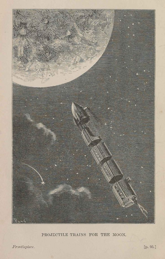 Illustration from Jules Verne From the Earth to the Moon published in 1874, depicting rocket approaching the Moon