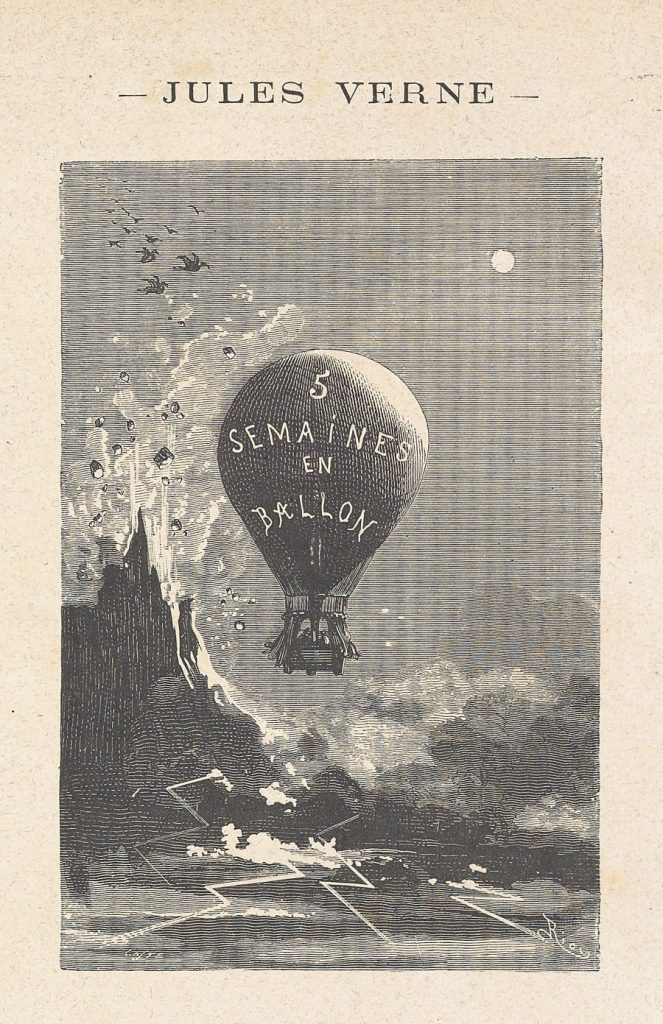 Illustration from Jules Verne's Five Weeks in a Balloon with publication date of 1867, with depiction of a hot air balloon and a erupting volcano