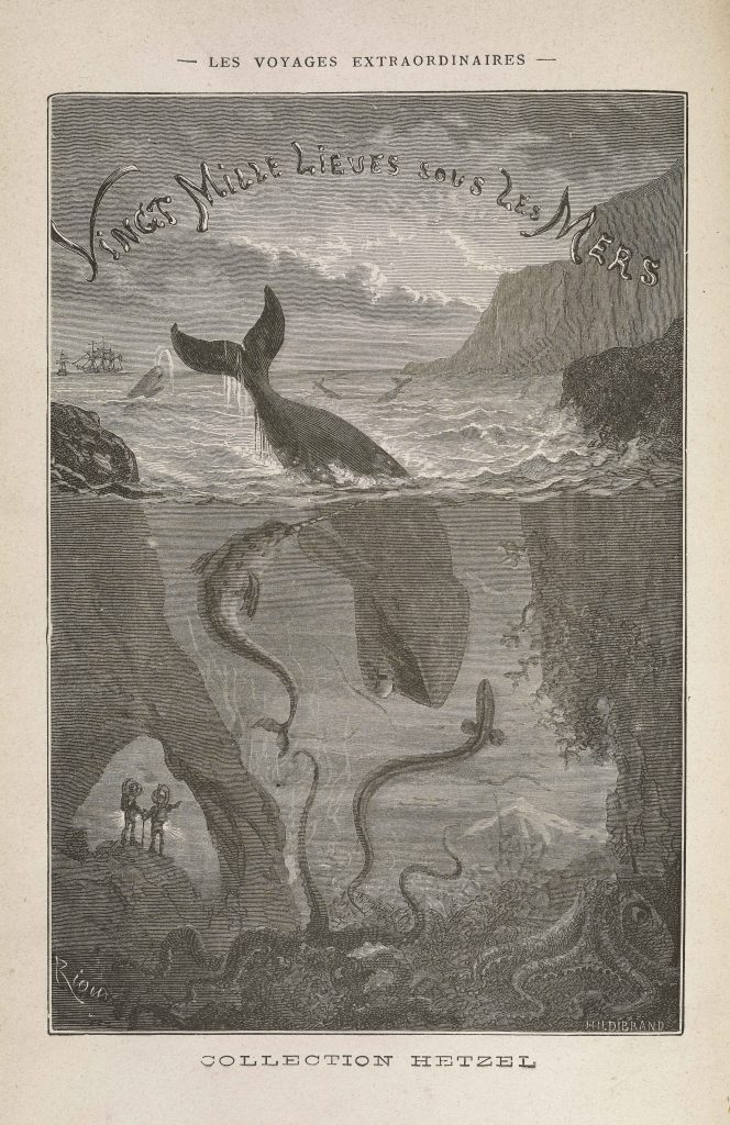 Title page from Jules Verne's 20,000 Leagues Under the Seas published in the 1890s, depicting divers among aquatic life including a whale