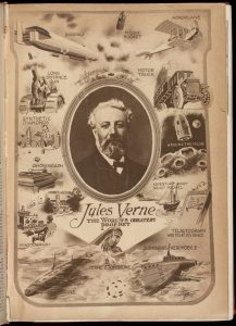 Portrait of Jules Verne illustrating some of his predictions