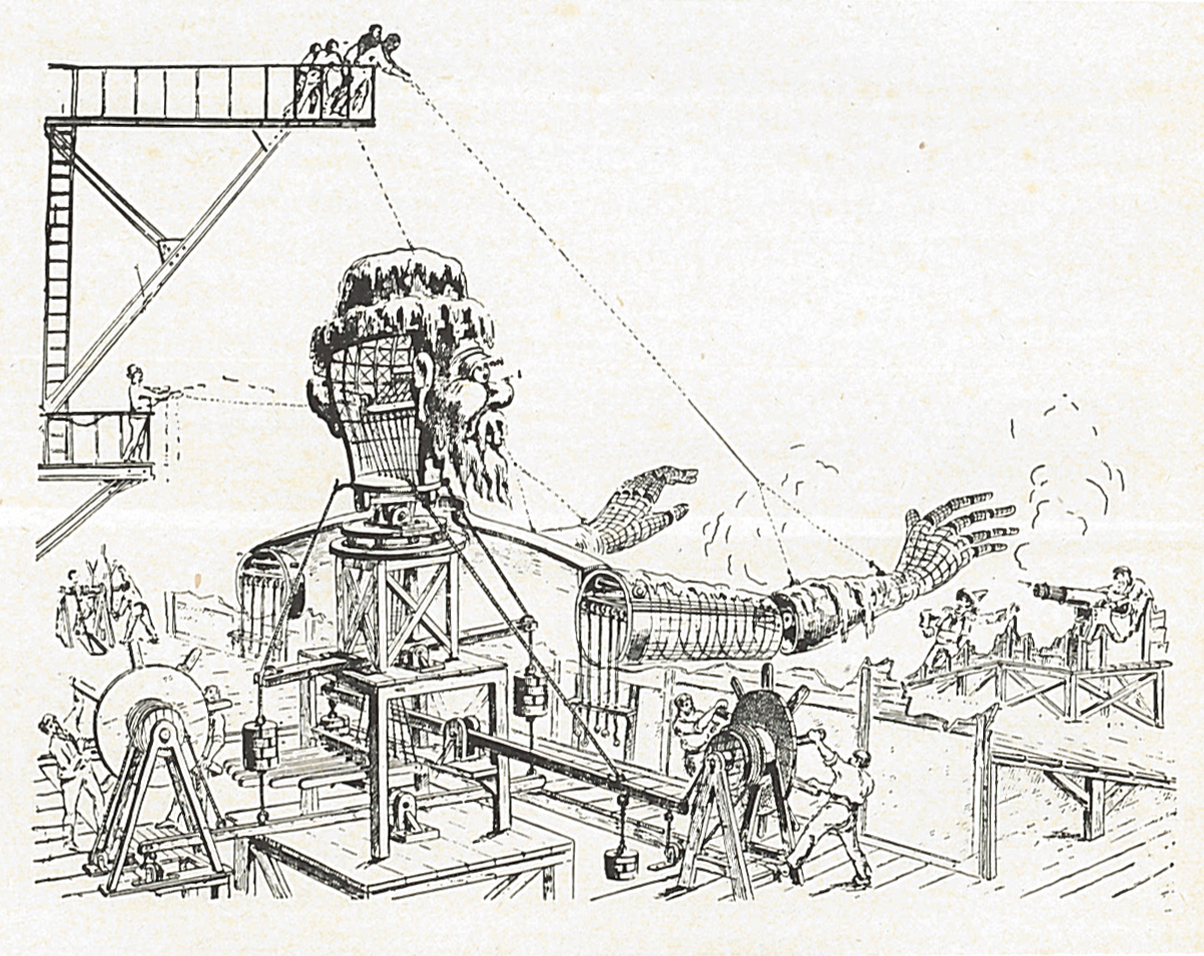 Drawing depicting the workings of a giant puppet used in Georges Méliès' film Conquest of the Pole (1912).