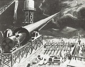 Georges Méliès drawing of cannon used in Trip to the Moon inspired by Jules Verne.