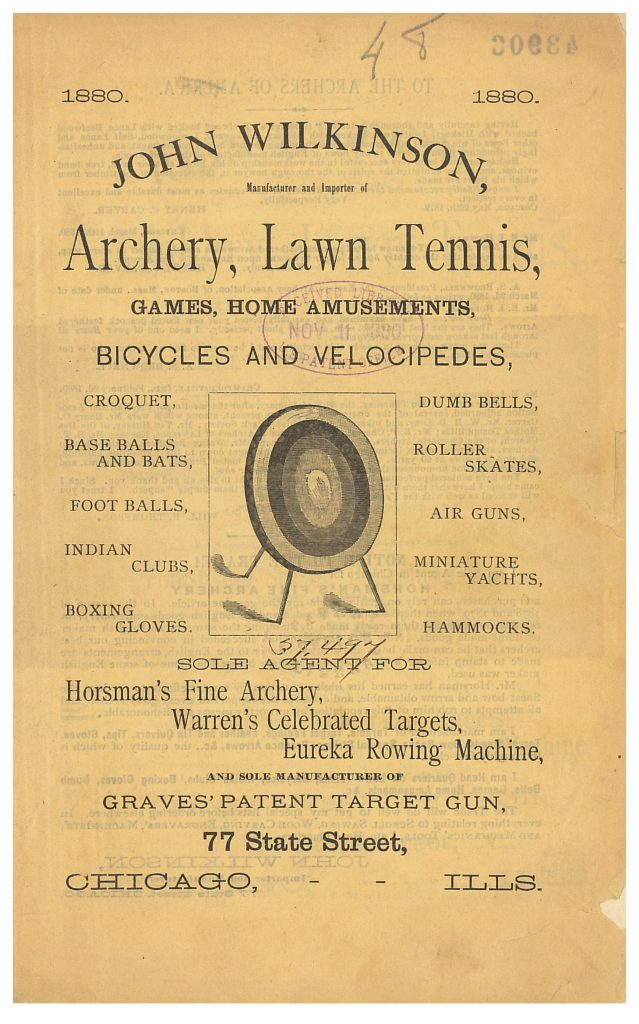 front cover of John Wilkinson catalog showing a target for archery
