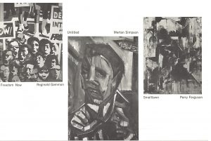 Page from the Spiral exhibition catalogue with images of art