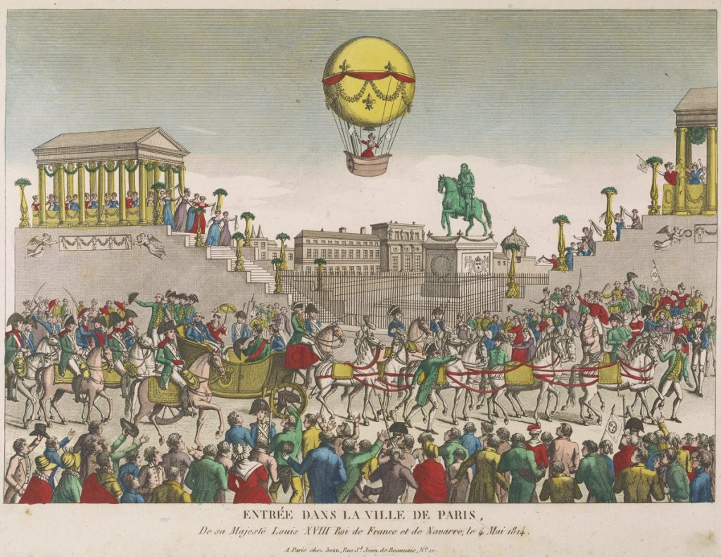 Entrée dans la Ville de Paris. De sa Majesté Louise XVIII Roi de France et de Navarre, le 4 Mai 1814., Arriving in the City of Paris.