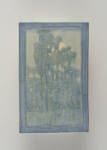 Newcomb pottery tile depicting tree covered in Spanish moss