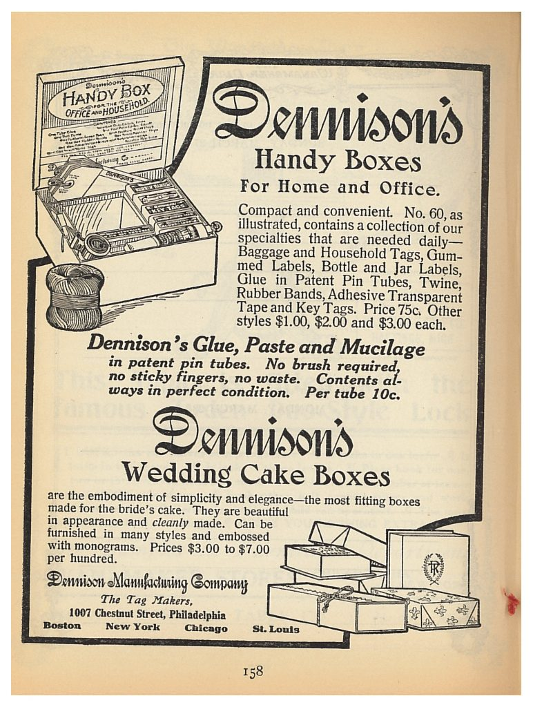 Dennison's Handy Boxes and Dennison's Wedding Cake Boxes advertisement in Wanamaker Diary 1910