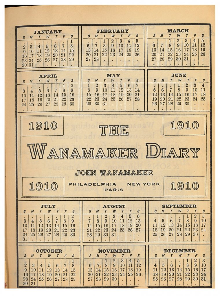 Wanamaker Diary title page showing 1910 calendar
