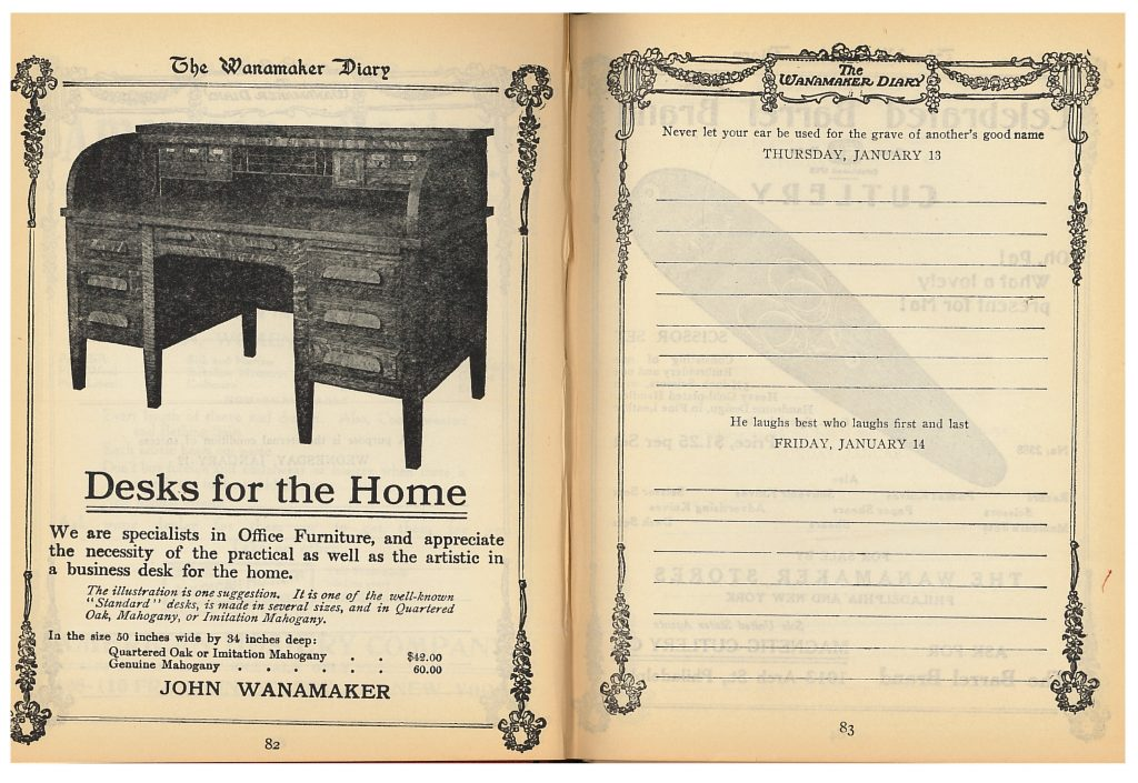 Advertisement for a desk and diary page for January 13 and 14 in Wanamaker Diary 1910