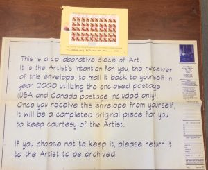 Ephemeral mail item from artist Kamran Khavarani that was from the Allentown donation.