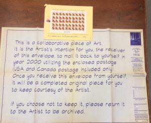 Ephemeral mail item from artist Kamran Khavarani that was from the Allentown donation.