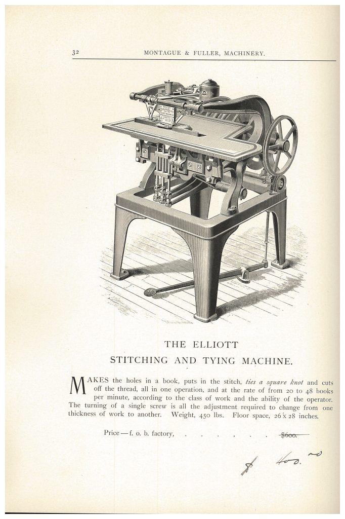 Elliott Stitching and Tying Machine