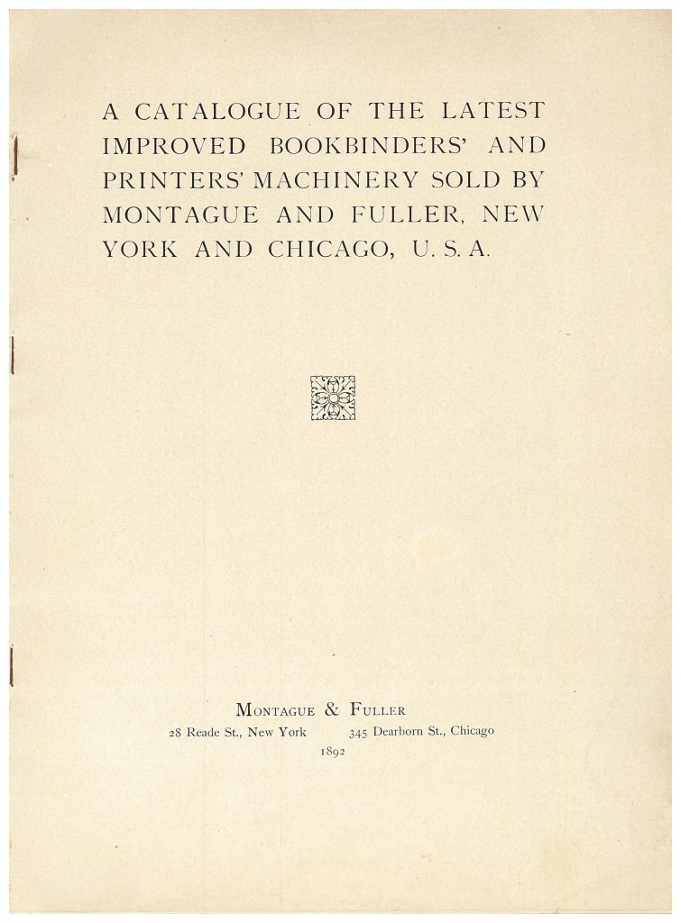 title page of Montague & Fuller 1892 trade catalog