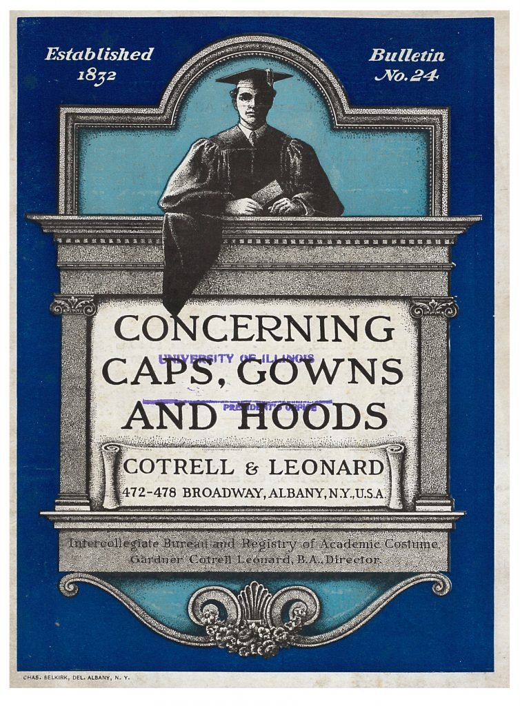 front cover of Cotrell & Leonard trade catalog showing a graduate in his cap and gown